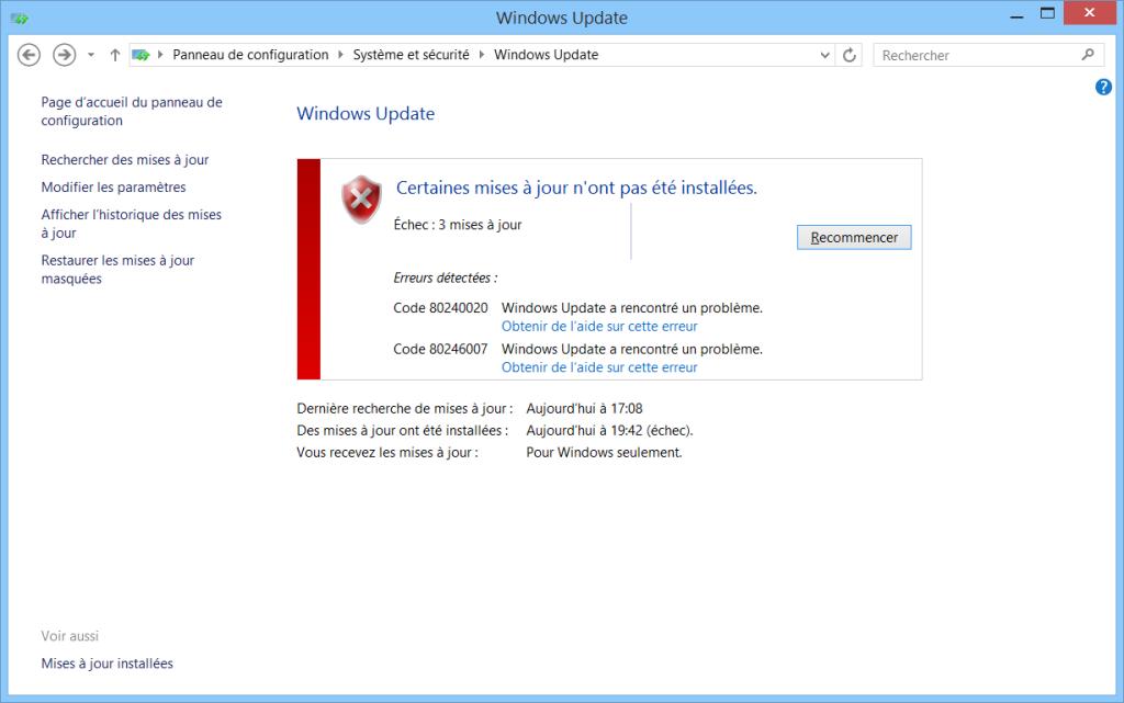 corriger l'erreur 80240020 lors de l'installation de Windows 10 mise à jour gratuite