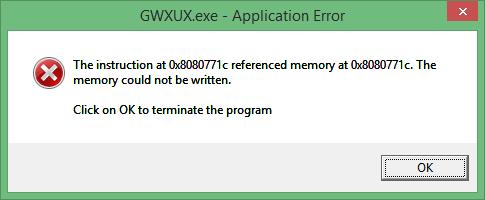 comment supprimer GWXUX.exe application Erreur
