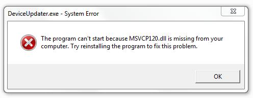 Comment se débarrasser de l'erreur Msvcp120.dll