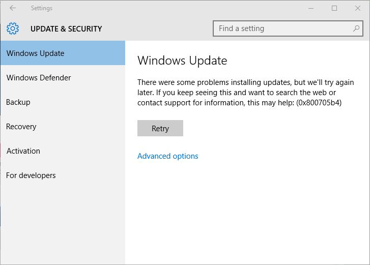 supprimer Windows 10 erreur de mise à jour 0x800705b4