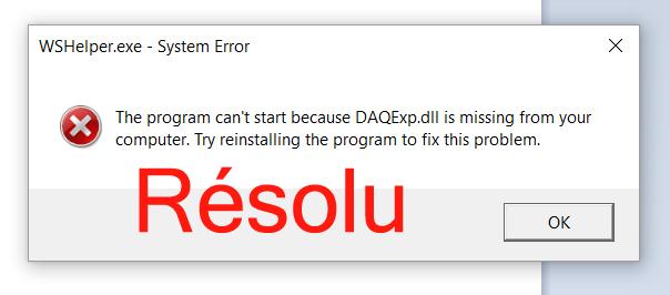la réparation de Daqexp.dll est manquante