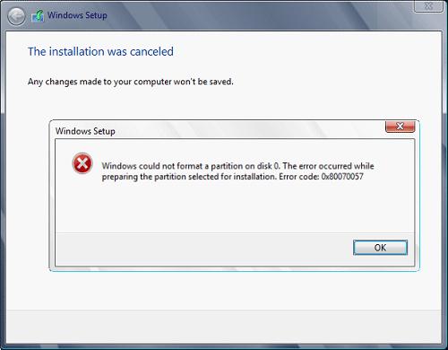 mise à jour Windows 0x80070057 code d'erreur