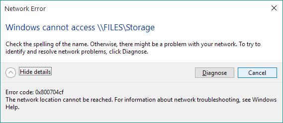 se débarrasser de l'erreur réseau 0x800704cf