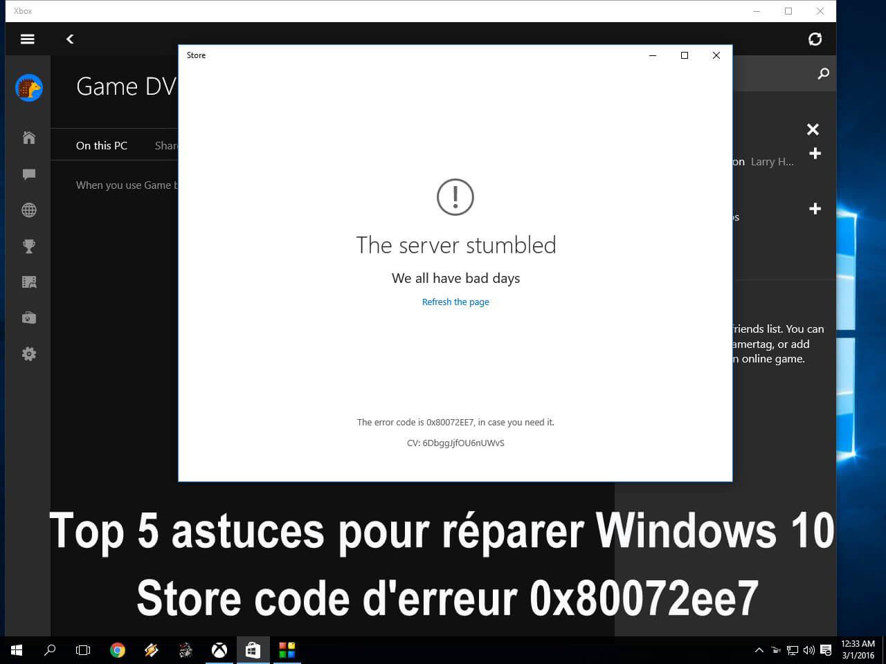 erreur de stockage de windows 0x80072ee7