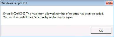supprimer l'erreur 0xc004d307