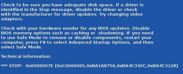 erreur 0x0000007E dans Windows 7