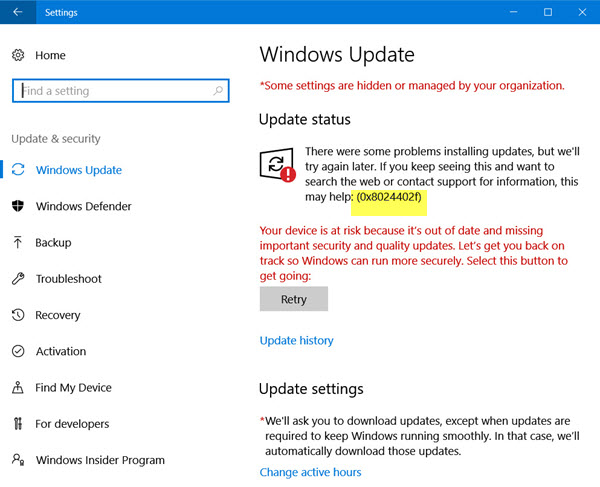 Windows 10 mise à jour 0x8024402f