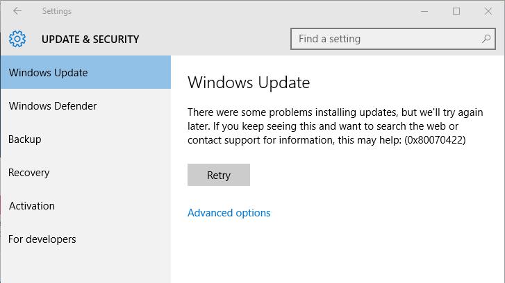 réparer Windows 10 code d'erreur 0x80070422