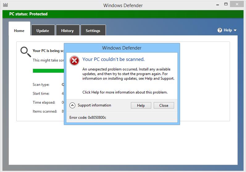 supprimer le code d'erreur Windows Defender 0x8050800c