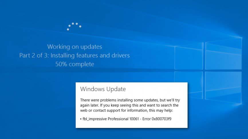 réparer le code d'erreur Windows 0x800703f9
