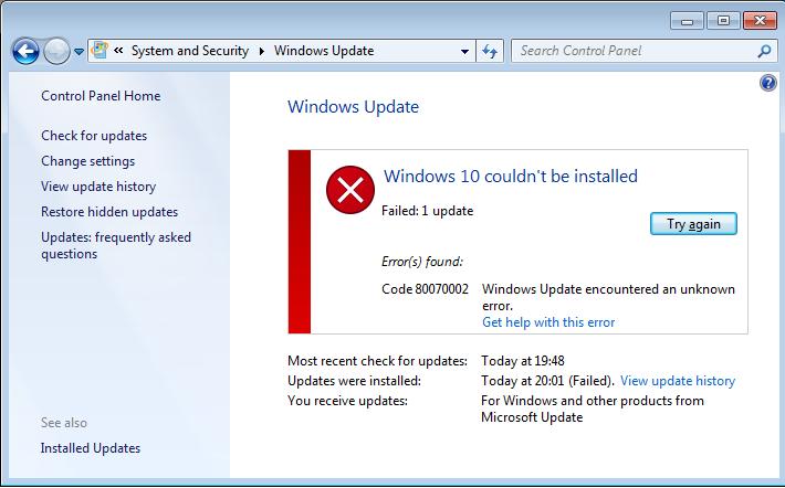 résoudre Windows 10 système 0x800703F1 erreur