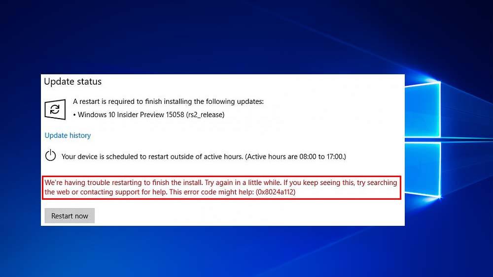 supprimer l'erreur 0x8024a112 de mise à jour de Windows 10