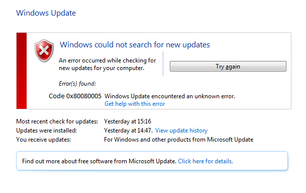 se débarrasser du code d'erreur Windows Update 0x80080005