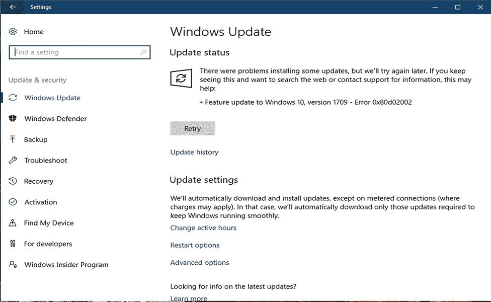 supprimer l'erreur Windows Update 0x80d02002