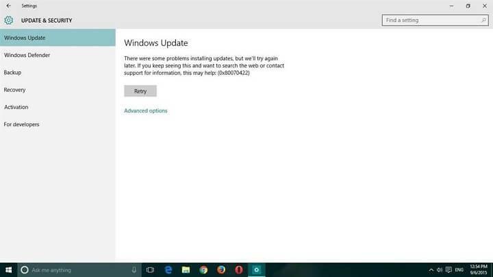 réparation de l'erreur de mise à jour Windows 10 0x80070422