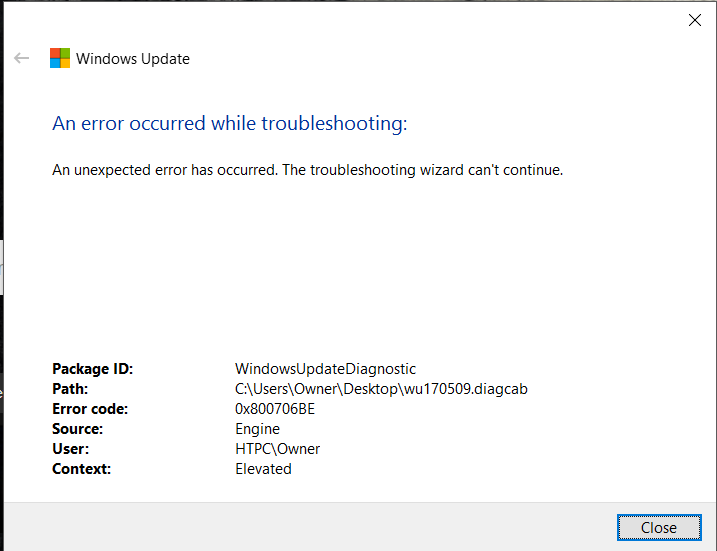 supprimer l'erreur 0x800706be de Windows 10 Update